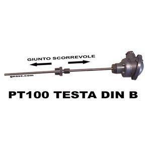 PT100 industriale con raccordo scorrevole e testa DIN B